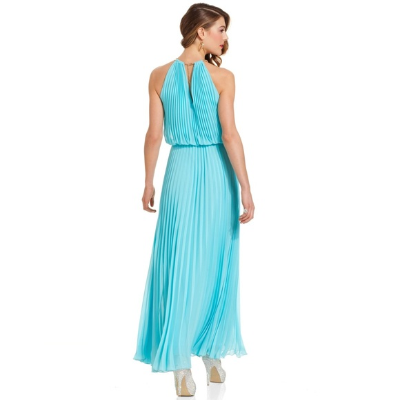Xscape Dresses | Pleated Halter Turquoise Dress Neck Is Gold | Poshmark